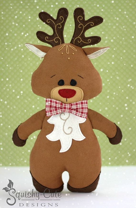 Reindeer Sewing Pattern PDF - Reindeer Stuffed Animal Pattern - Reindeer Plushie…