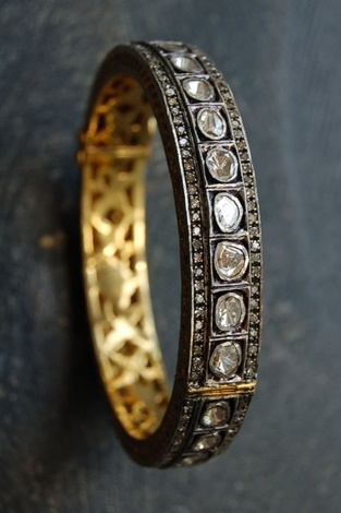 RONA PFEIFFER   Rose and pave diamond bangle* 4.86ct. Rose cut and pave Diamond bangle set in Sterling Silver .925 and 14K Gold backing, 6,000. USD