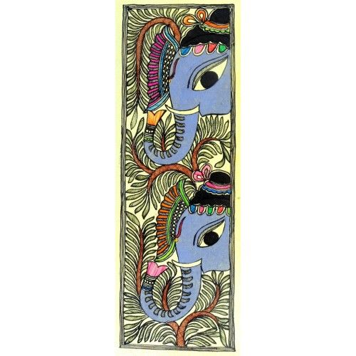 COLORED ELEPHANT DESIGN  http://www.indiancraftsmen.com/art-c4ca4238a0b923820dcc509a6f75849b/madhubani/colored-elephant-design-1
