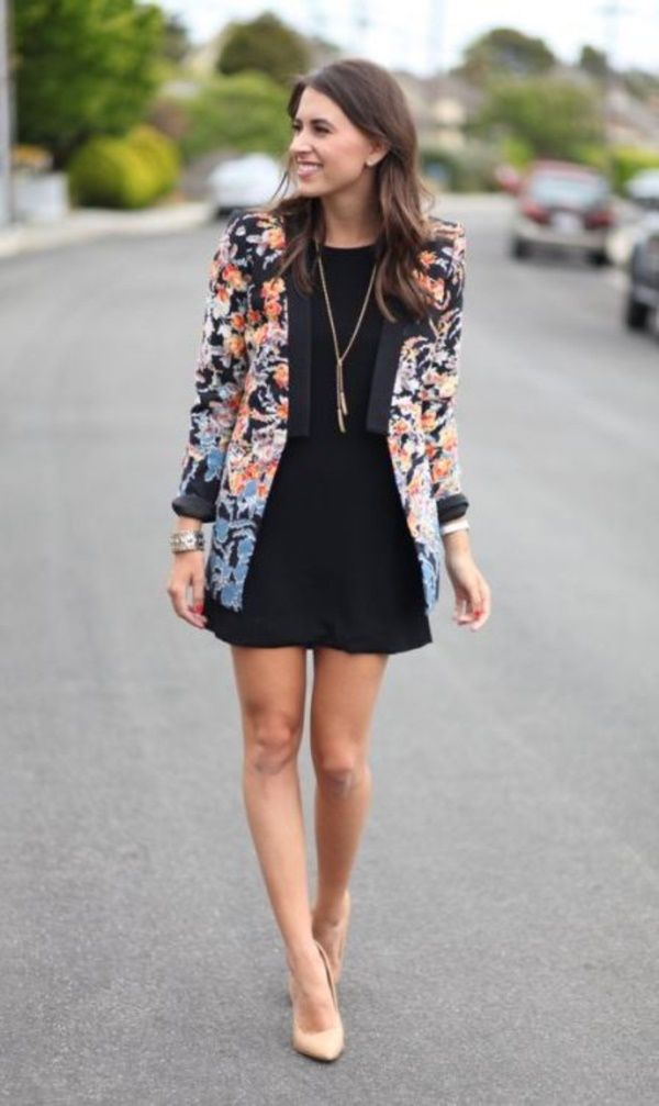 0a0aaa04a6d7 42 Casual Winter Work Outfits Ideas 2018 | My Style | Floral blazer ...