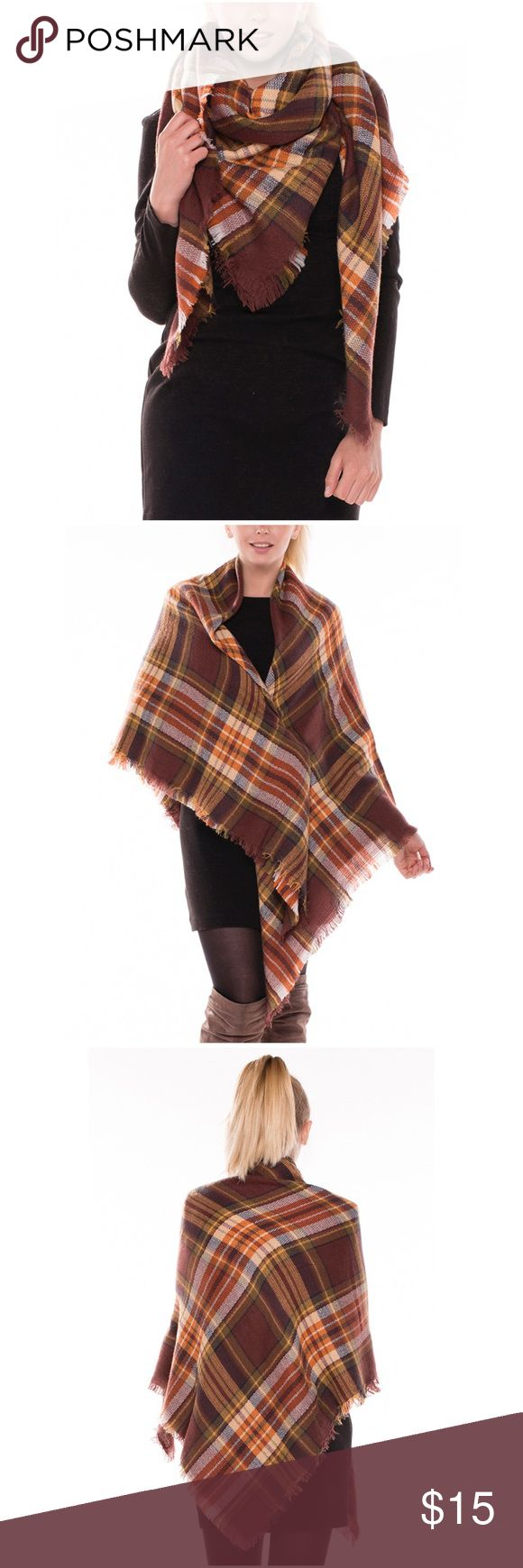"Brown Tartan Oversize Check Plaid Blanket Scarf Material: 100% Acrylic, soft touch  Weight: 7.65oz Size: 57"" x 57"", large square wrap Oversized styling, check plaid tartan pattern, frayed ends Hand wash or dry clean only, do not bleach Accessories Scarves & Wraps"