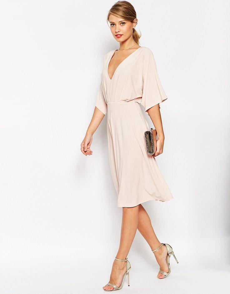 ASOS // Kimono Plunge Midi Dress -- Needs an under-bra but nice and flow-- back looks nice, too!