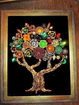Vintage-Costume-Jewelry-Fall-Tree-Framed-Rhinestones-Beads-Christmas-10x12