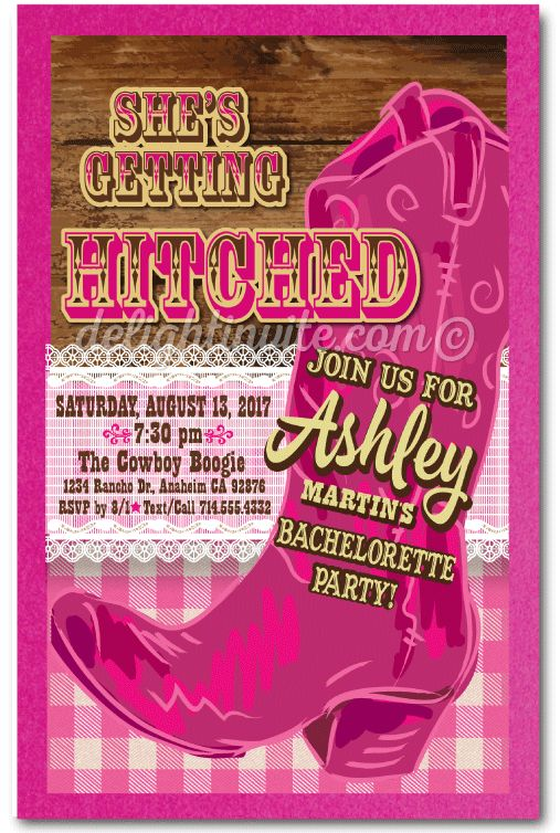 Country Western Pink Bachelorette Invitations, retro pink cowgirl bachelorette invitations