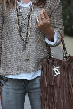 ❤❤❤ Beaded long pendant necklaces & silver pendant necklace with a taupe sweater, white t-shirt, grey skinny jeans, chocolate fringe handbag