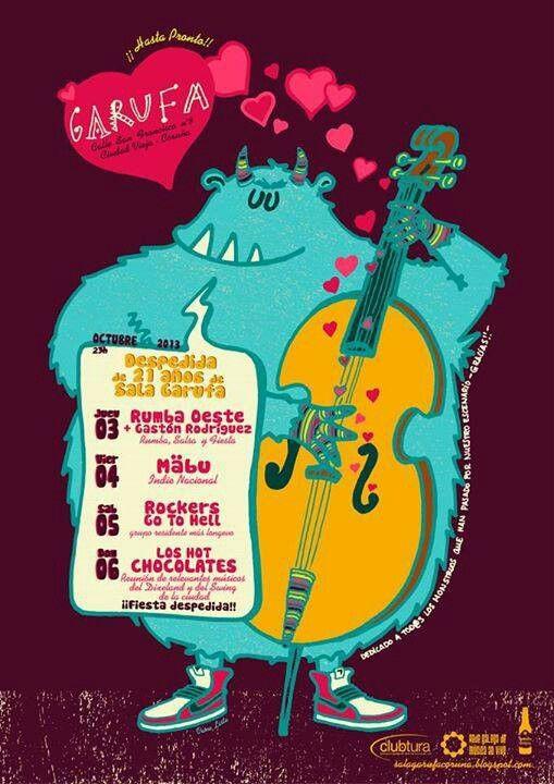 by Vanessa Liste; garufa sala conciertos programación despedida coruña 2013 cartel poster design graphic