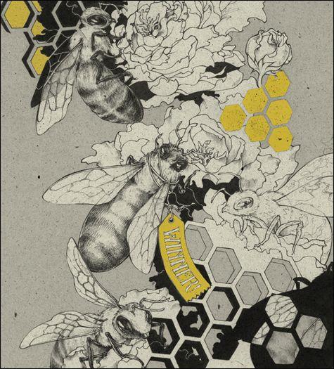 Teagan White bee illustration. ink, digital (photoshop). 2010.