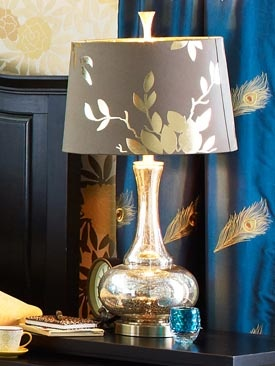 gold leaf lamp inspiration for my diy floor lamp.. bc I already have the curtains :)