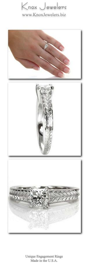 This unique engagement ring design features clean lines and charming details to put all the focus on the 0.75 carat princess cut center diamond. The center stone is secured with double prongs and is upraised to show off the side profile of the stone. The wider band is adorned with a beautiful, hand engraved wheat pattern.