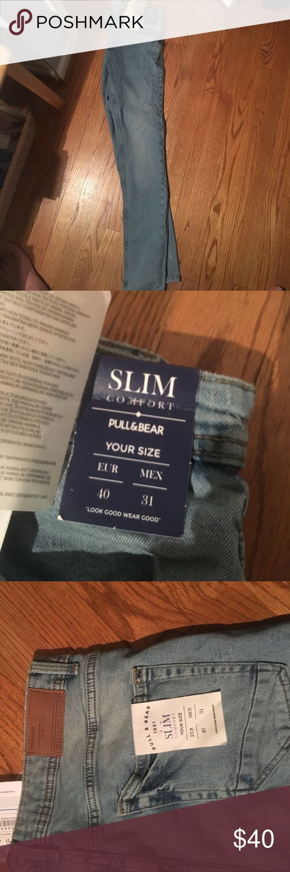 Pull & Bear Slim Jeans (Euro Size: 40 USA Size: M) Pull & Bear slim pants. Very nice material. Tight fit on legs which is very trendy. Does not ship to U.S. through their website so I ordered it off ASOS. Never been worn. Tags untouched. Pull&Bear Jeans Slim