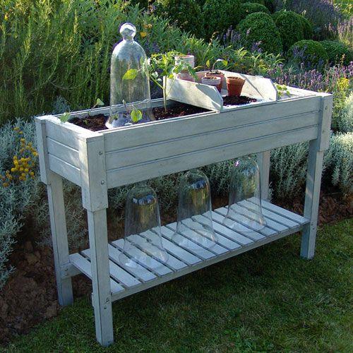 Table potagère en bois gris patine