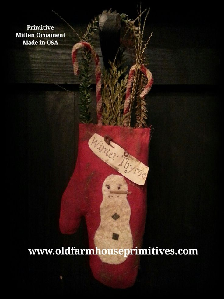 Primitive Mitten Ornament (Made IN USA)