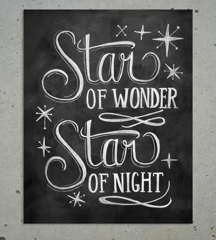 Star of Wonder Christmas Chalkboard Art Print  by Lily & Val on Scoutmob Shoppe