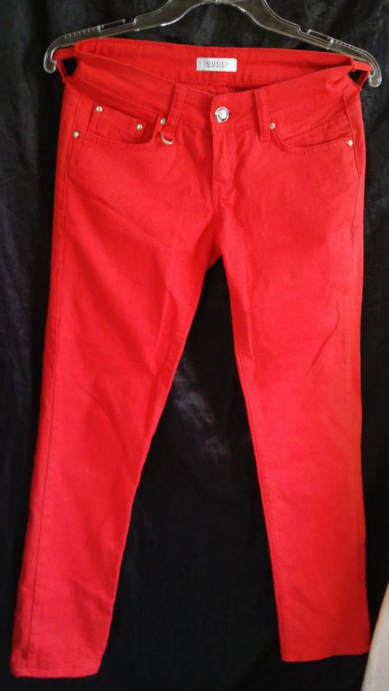 Gucci Women's Jeans  RED Pants Size 28  Made in Italy #Gucci #BootCut