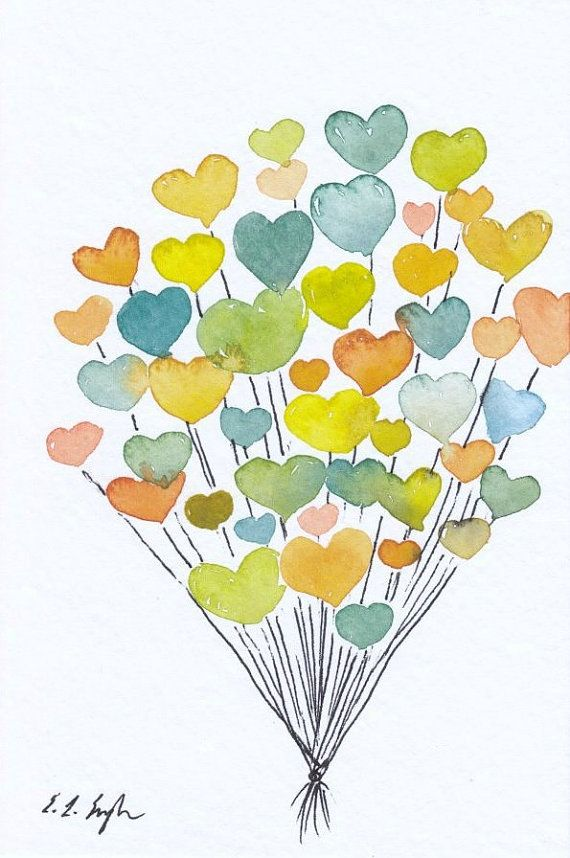 Valentine's Hearts Balloons Cluster 4x6 by GrowCreativeShop $22