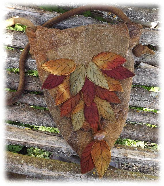 SALE Woodland Bag -Felted Fairy Bag - Leaf Bag