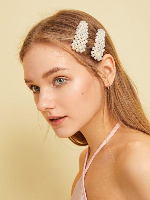 2d4a02c6a Faux Pearl Decor Hair Snap Clip 2pack | SHEIN | Accessory board in ...