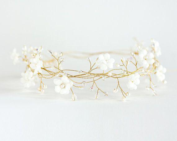 Bridal hair accessories, Wedding pearl crown, Bridal gold wreath, Spring wedding, crystals, Bride hair piece, Vine headpiece, White flowers.