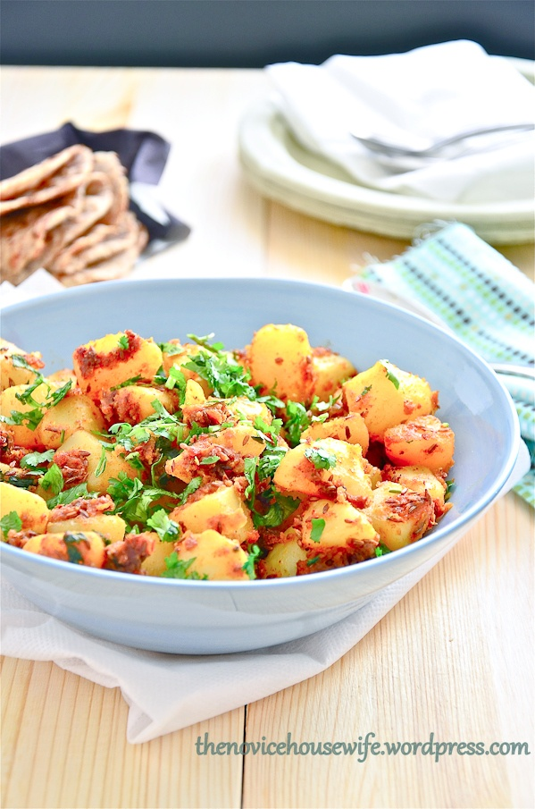 jeera aloo (potatoes with cumin and other spices)
