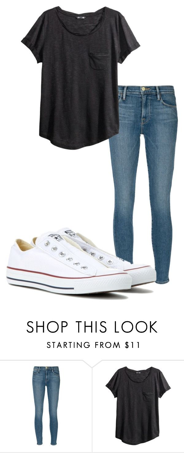 """Untitled #35"" by kbwalrus on Polyvore featuring Frame Denim, H&M and Converse"