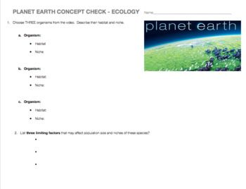 This open-ended worksheet is designed to go along with any Planet Earth or Planet Earth 2 video.  The questions ask students to choose any organisms they like, define their habitat and niche, examine different type of species interactions, and create a food web & trophic pyramid.