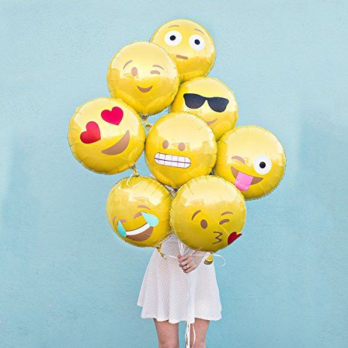 Facial Expression Party Balloons, 18-Inch Foil Party Balloons 11 Facial Expression Emoji