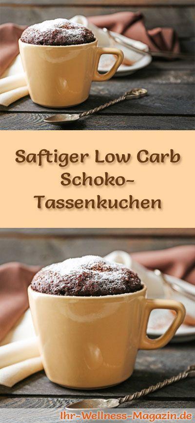Rezept für einen schnellen, saftigen Low Carb Schoko-Tassenkuchen: Der kohlenhydratarme Kuchen wird ohne Zucker und Getreidemehl gebacken. Er ist kalorienreduziert, ...