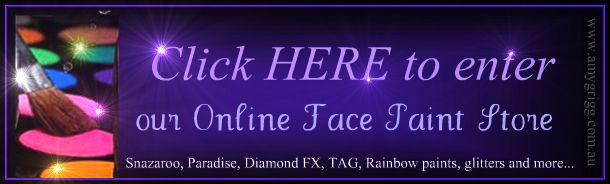 Online Face Painting Supply Store- Snazaroo, Diamond FX, TAG Body Art, Mehron, Paradise, Rainbow cakes, Glitters, brushes, face paint and mo...