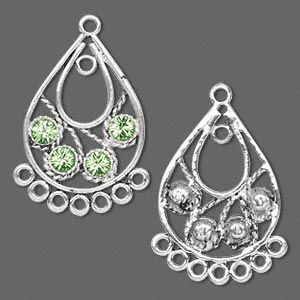Findings: :: Drop Parts, Chandelier for earrings: :: Antiqued silver-plated pewter with Swarovski® crystal, peridot, 29x19mm teardrop. Sold per pkg of 2. - BEST Beading Supplies - Tools, Stringing, Beads, Bulk Buys, Sydney Retail Shop