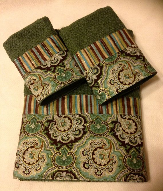 Sage Green Gold and Brown Paisley and Stripes by www.ladydiblankets.etsy.com, $59.99
