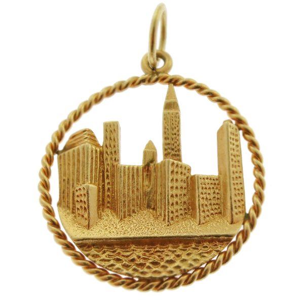 Vintage New York Skyline 14k Gold Charm Vintage New York
