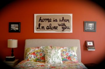 "First anniversary gift for husband-- painting of Edward Sharpe lyrics, ""home is when I'm alone with you"""