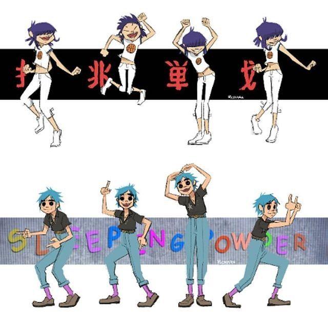 Noodle & 2D dancing   Gorillaz, fanart by wonderfulworldofmoi on Tumblr