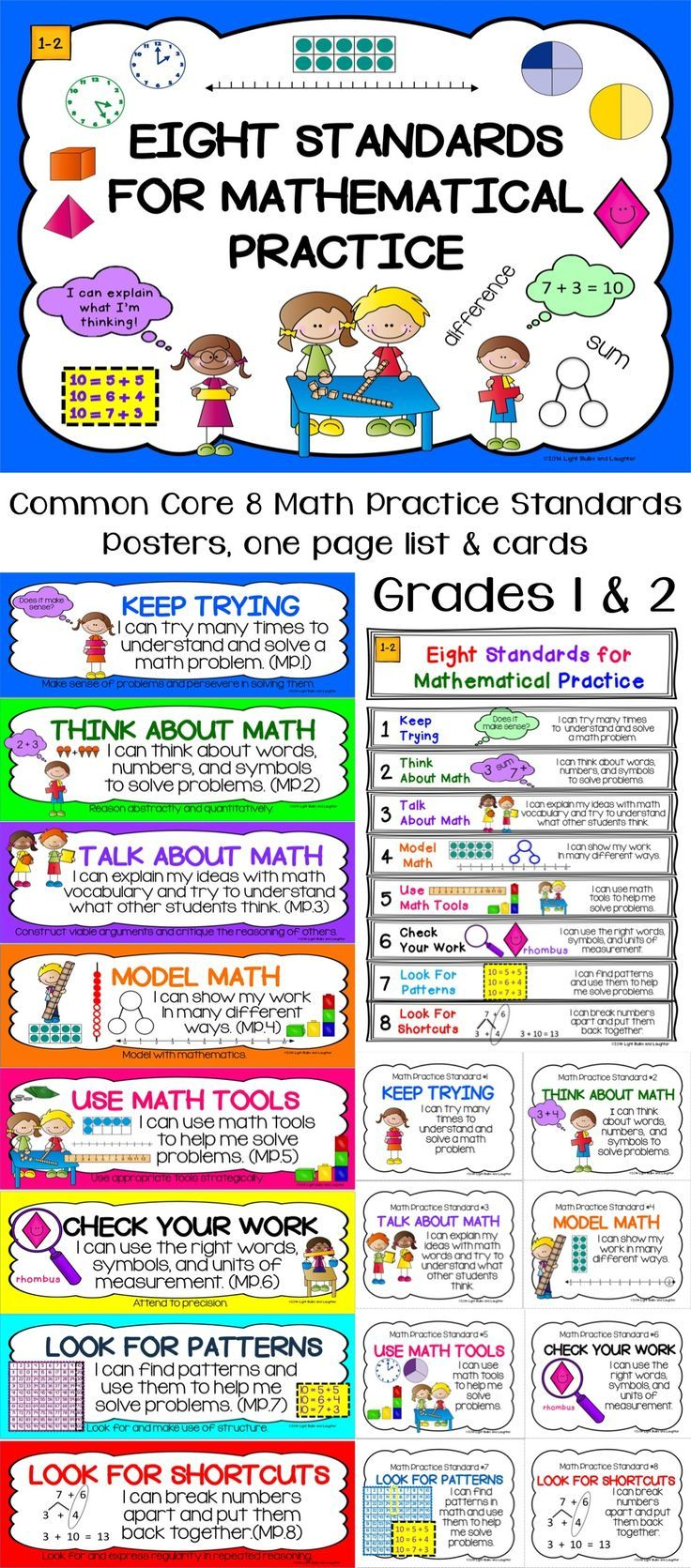 Common Core 8 Standards for Mathematical Practice - Everything you need.  Posters, one page list, student cards.  Grades 1 & 2. $TpT:
