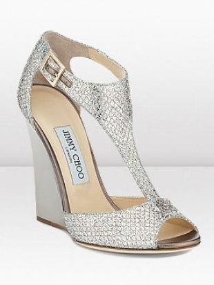 Think these are more your speed Lynde! Jimmy Choo Bridal Shoes 2013 Silver T-Strap Wedges #Heels #Shoes #Choos