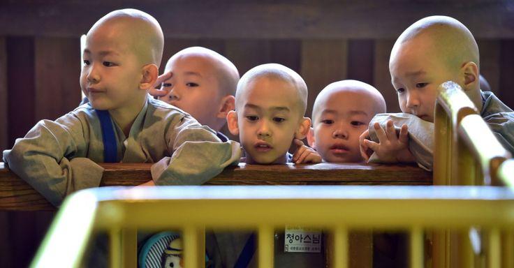 """Monges budistas esperam para andar de montanha-russa no parque de diversões Everland durante um programa de treinamento intitulado """"Children Becoming Buddhist Monks"""" em Yongin, ao sul de Seul, na Coreia do Sul"""