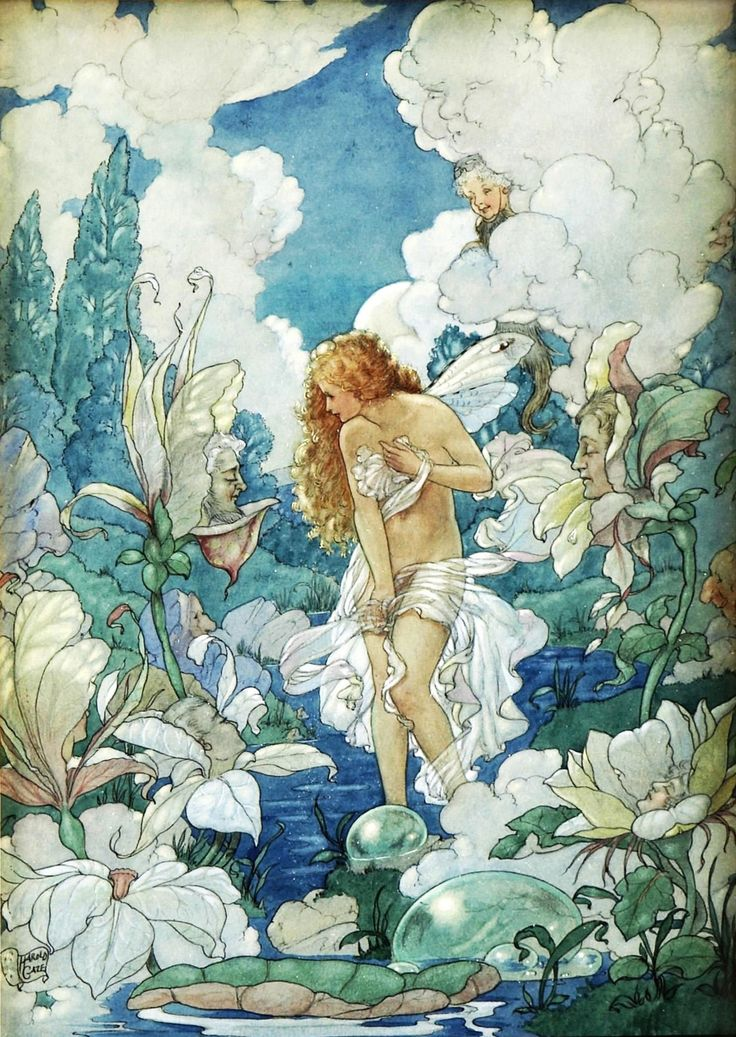 Water Fairy by Harold Gaze. Illustration for a poem of love.// the Art of Narrative tumblr - classic illustration, pre-Raphaelite artists, Symbolist and Impressionist painters, children's book art, fantasy art, Medieval art, etc.//