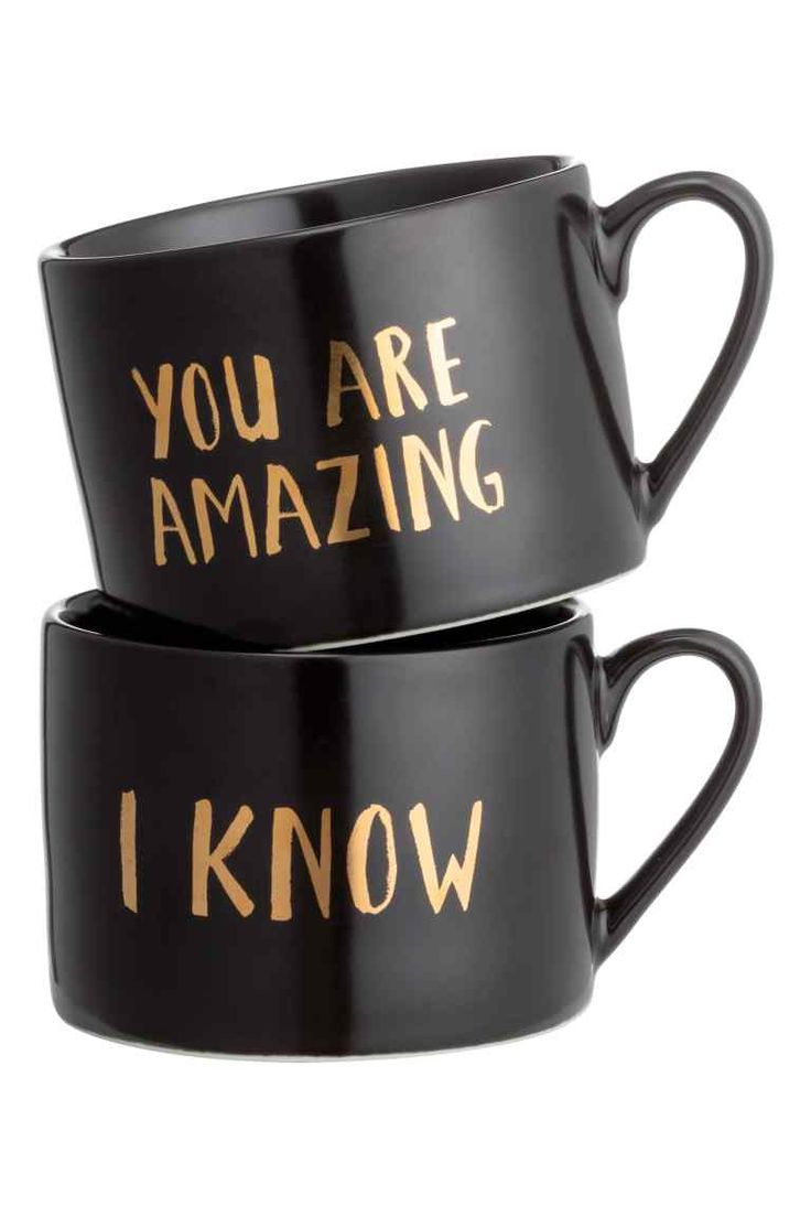 2-pack porcelain mugs: Porcelain mugs with a gold-coloured text print. Height…