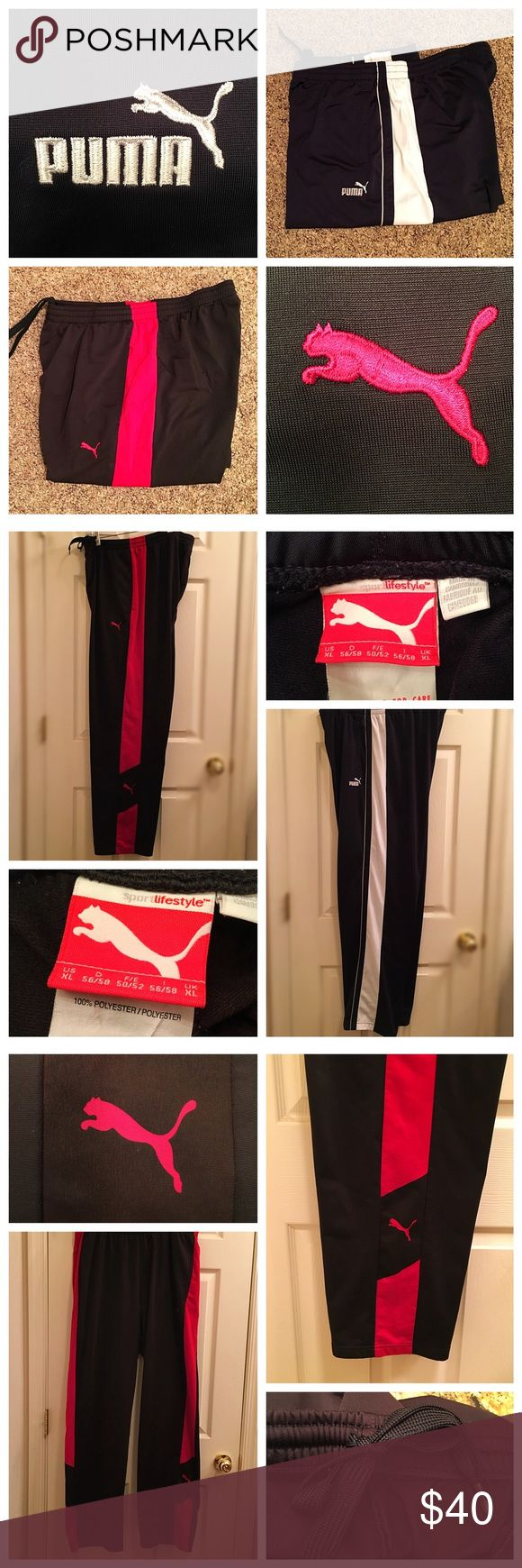 PUMA Set of 2 Men's Workout Pants Stock your gym essentials drawer with this 2 pair of sweatpants deal❣️ One is red and black and the other is white and black.  Perfect for workouts or street wear in fashionable Puma Brand Style❣️ Puma Pants Sweatpants & Joggers