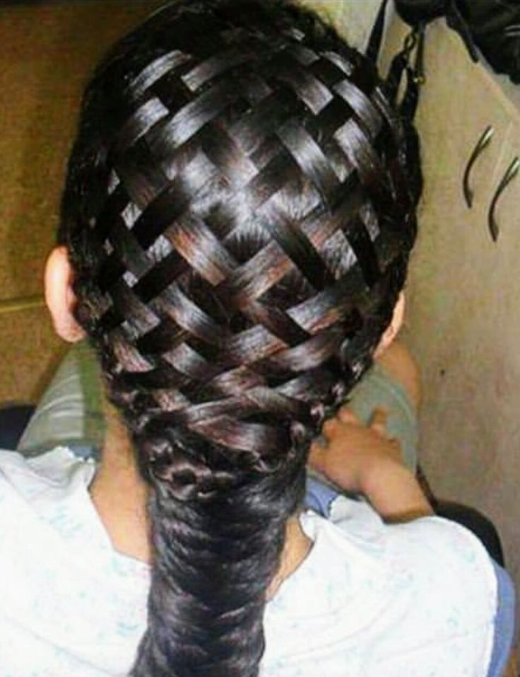 Basket weave into a fish tail braid