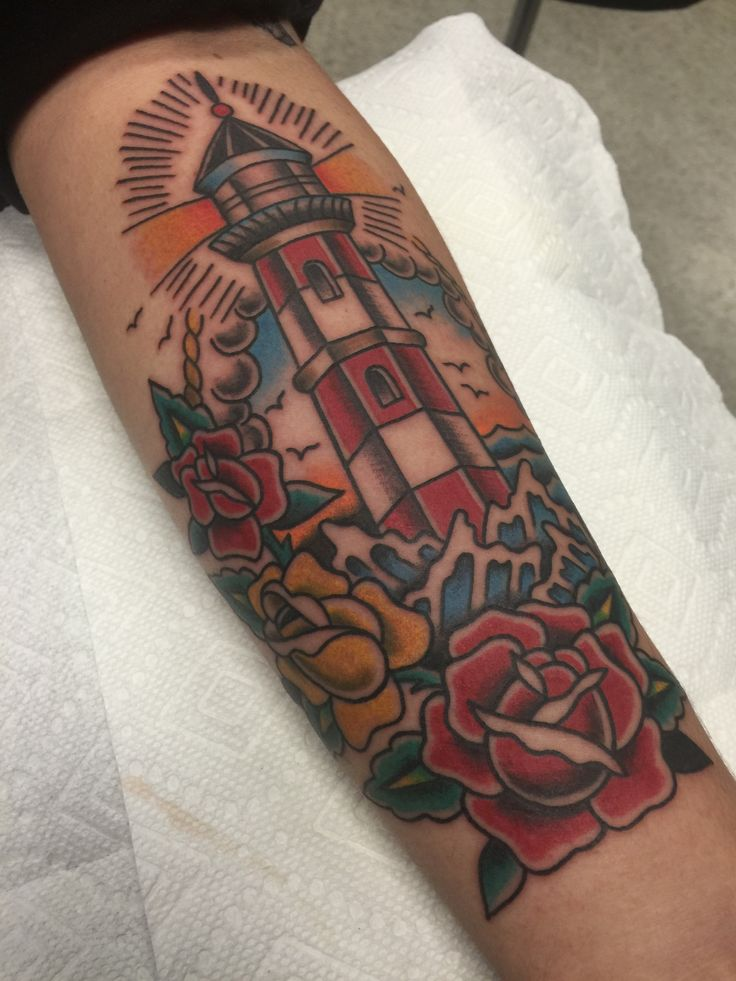 American Traditional Lighthouse. By Alvin Aldridge at Fine Tattoo Work. Orange, CA