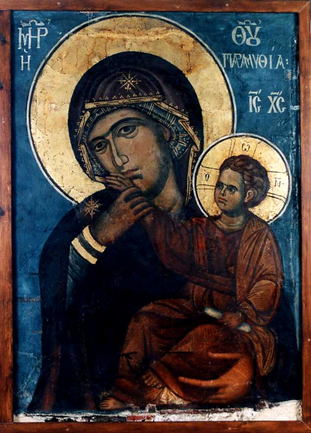 "Panagia Paramythia,(.Paramythea means ""calming down"" or ""restrain"") the Vatopedi Mother of Consolation, or Comfort is an 8th century miraculous icon of the Virgin Mary from the holy and great Monastery of Vatopedi, Mount Athos, Greece."