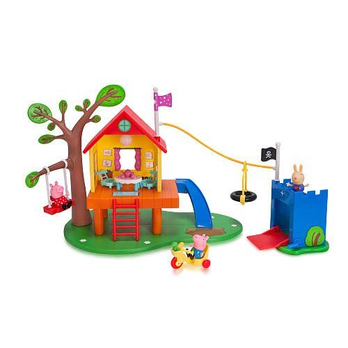Peppa decides that only girls can play in her treehouse so Grandpa Pig builds George and the boys their own fort. Help Peppa slip down the slide and land in a muddy puddle to activate squelchy sounds...