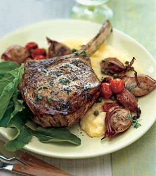 Veal Chops with Roasted Shallots, Arugula, and Soft Polenta Recipe | Epicurious.com