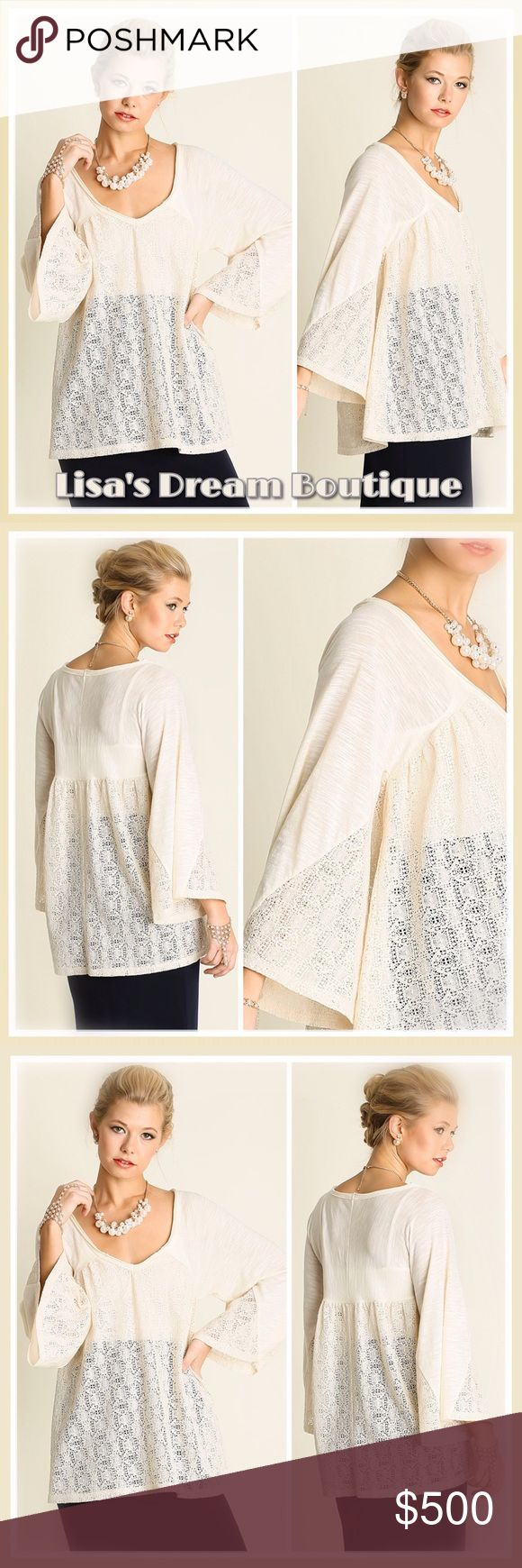 ✨Cream V-Neck Lace Detailed Top✨ 🆕Gorgeous Relaxed V-neck top featuring bell sleeves and beautiful Lace detail🌷Premium quality from Umgee🌷Will fit to your normal size: Size Large is modeled on size 12 body form/Lightweight cotton blend🌷🌼Perfectly dressy yet casual🌼🔹NO TRADES🔹PRICE WILL BE FIRM UNLESS BUNDLED🔹💟25% OFF BUNDLES {Limited Time}💟 LDB Tops Tunics