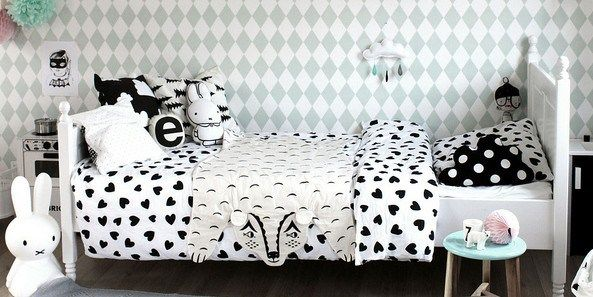 Black and White Danish Modern Girls room is so cute! We love this design featured on Design Dazzle