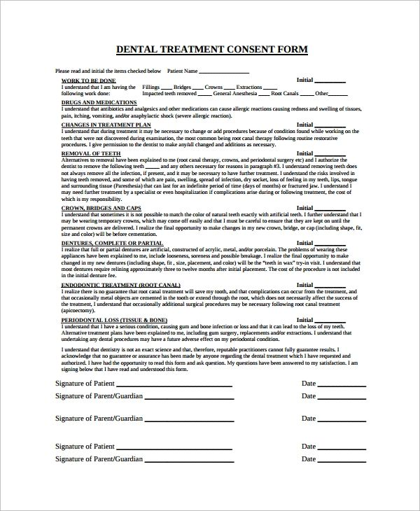 Free 6 Sample Dental Consent Forms In Pdf Consent Forms Dental Treatment Treatment Plan Template