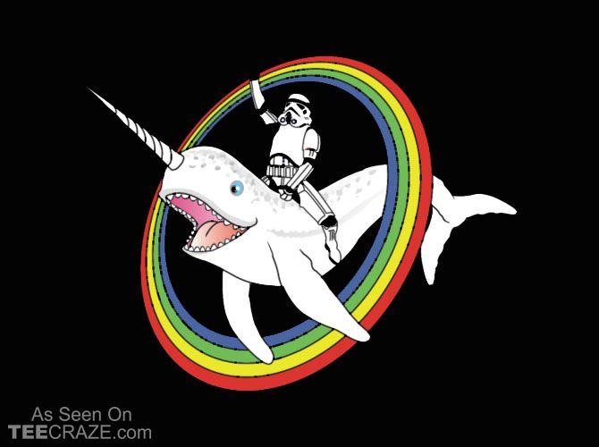 Narwhal Rainbow Stormtrooper T-Shirt - http://teecraze.com/narwhal-rainbow-stormtrooper-t-shirt/ -  Designed by racoon