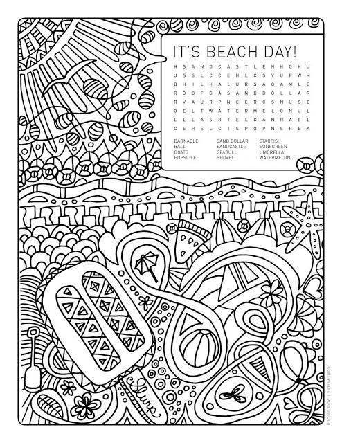 word search colouring page its beach day