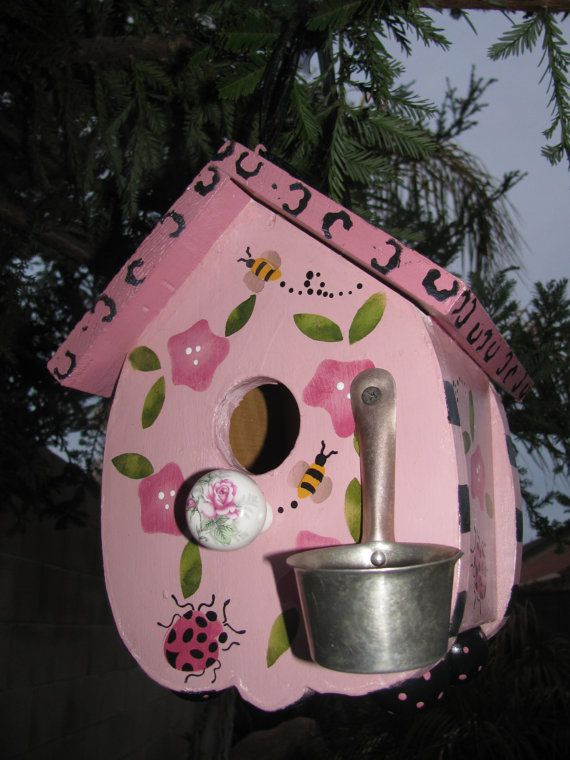 Outdoor Birdhouse by bubee on Etsy, $30.00 awesome site for whimsical items .garden items ,birdhousespainted and sealed so they can be used outside ,great site for kids ,gardens and fun !